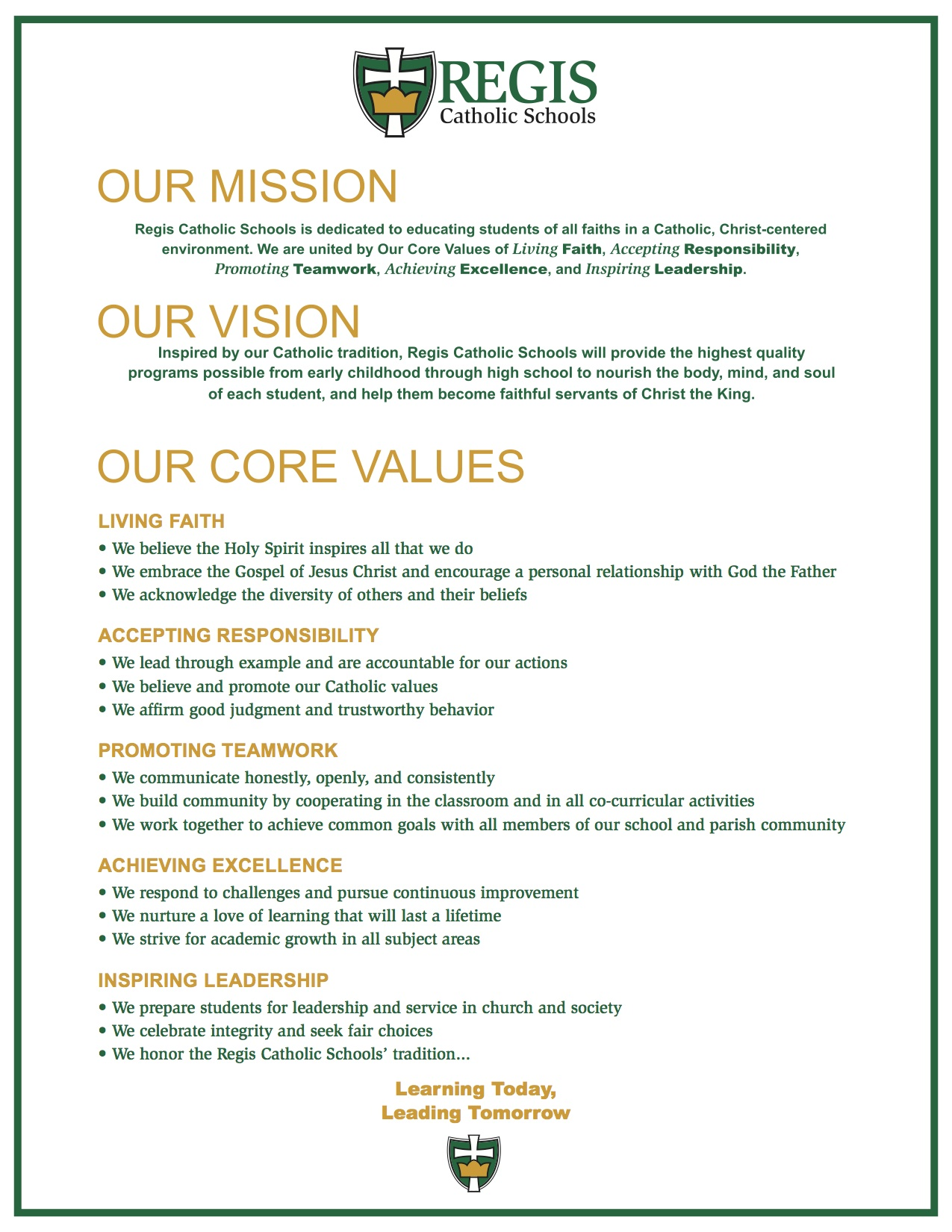 Mission Vision And Values Regis Catholic Schools